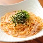 阿波尾鶏の胸肉を使用しています。明太子と阿波尾鶏のコラボレーションが楽しめる逸品です。