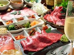 自慢の極上お肉を取りそろえた贅沢なコース+飲み放題(二時間制)お料理のみは5500円(外税)