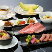 A5松阪牛のサーロインを≪ステーキ・しゃぶしゃぶ・すき焼き≫の3種類の味わいで楽しむ『家康コース』