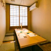 こじんまりとして上質な空間は、小規模な接待や会食に最適