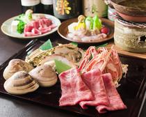 季節の鍋、旬の魚介、黒毛和牛など、選び抜かれた食材を満喫