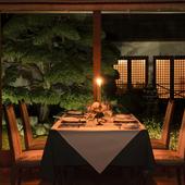 夜の庭園を眺めながら、しっとりとした大人のデート