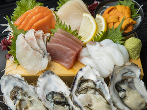市場直送の旬魚が勢揃い、鮮度抜群の『本日のお造り 七点盛り』