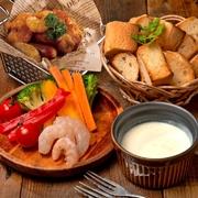 彩り野菜、ソーセージ、えび、バケット付き!
