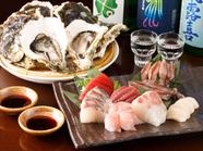 鮮度抜群の海の幸『刺身5点盛り』や『生牡蠣』がおすすめ