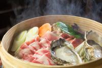 極上アグーバラ肉(100g)・アグージューシー赤身肉(140g)・牡蠣(6個)・島豆腐付国産野菜盛り・ライス(コシヒカリ)