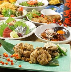 「九州鮮魚5種盛り」や「宮崎名物 チキン南蛮」など厳選した食材をふんだんに使用した当店一番人気のコース