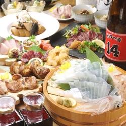 うまか名物の「博多もつ鍋」に「九州鮮魚3種盛り」など寒い季節にぴったりのコース!ぜひご賞味ください。