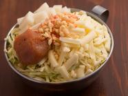 明太子の旨みにチーズのコク、もちの甘みのハーモニーのもんじゃ『明太子』(明太子・もち・チーズ)