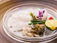 瀬戸内海産を中心に、旬の新鮮な魚をふんだんに使った『お造り』