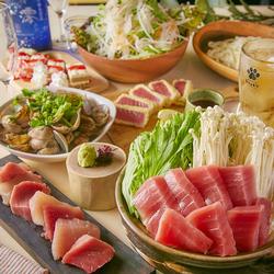 本鮪と備長マグロの紅白2種盛りやメインはマグロとねぎまの鍋、彩りちらし寿司からお選びいただけます!
