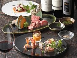 旬の食材の前菜や宮城国産牛の牛舌も含んだ、 AZUMANを代表する全八皿のフルコース