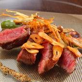 肉本来の脂の甘みを楽しめる『大和牛ステーキ タリアータ』
