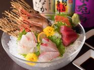 九州産の新鮮な魚を使った『刺身』