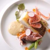 魚料理 真鯛の鉄板焼き、アンチョビを使ったソースと季節のお野菜添え