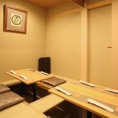 改まった会食の場にも相応しい、完全個室のプライベート空間
