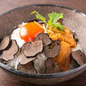 雲丹と黒トリュフの卵かけご飯