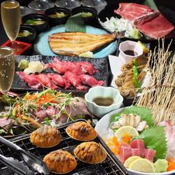 活あわび、のどぐろ唐揚げ、本まぐろ赤身刺身、焼うに、A5神戸牛の肉寿司、特大ほっけ、ローストビーフなど