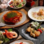 広島食材を豊富に使ったコース料理は、飲み放題もOK