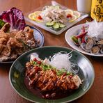 お酒の肴に。日替わりのおばんざい『よだれ鶏/油淋鶏/豚みみ冷菜/アサリ醤油漬け』