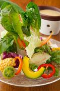 愛情込めて育てられた鮮度抜群の野菜たちを思う存分味わえる逸品。見た目にも彩り豊かで、運ばれてきた瞬間に心躍ります。