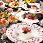 熟成牛イチボ・鮑・ズワイガニ・オマール海老・牡蠣等々贅沢食材を使用したコース!+1000円で飲み放題