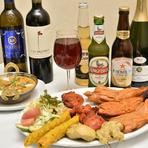 カクテル、サワー、ウィスキー、ワインなど各種お酒も充実。スープ、タンドリーチキン、ナン等色々な料理が味わえるコースも豊富なので、宴会やパーティに最適です。12名~貸切可能なのも嬉しいポイント。