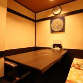 6、7名まで利用可能な半個室は、接待などにもおすすめ
