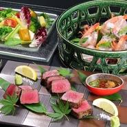 豊後大分・また日本各地の旬素材・厳選素材を選りすぐり、繊細に調理致します。桟敷坐の魅力を、リーズナブルかつ大変豪華にお愉しみいただける素敵なプランとなっております。歓送迎会など、会社・団体、各種御宴会から少人数でのお集まりまであらゆるシチュエーションで御利用頂けます。+1000円でプレミアム飲み放題をご選択、より贅沢な飲み放題も、お愉しみ頂けます。