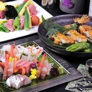 豊後大分・また日本各地の旬素材 ・厳選素材を選りすぐり繊細に調理致します。5000円コースよりもう一つ贅沢に…。桟敷坐の味力をより大変豪華に御愉しみいただける、素敵なプランとなっております。歓送迎会等、会社・団体、各種御宴会から少人数でのお集まりまであらゆるシチュエーションで御利用頂けます。+1000円でプレミアム飲み放題を御選択、より豪華なメニューもお愉しみ頂けます。