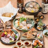 新鮮な魚介の甘み・旨みを堪能できる『のどぐろ刺身・薄造り鮮魚五点盛合せ』
