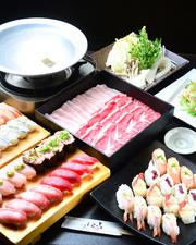 鮮度抜群! 魚も肉もたっぷり食べられる『寿司・しゃぶしゃぶ食べ放題、飲み放題コース』