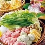 お料理コース3000円(税抜)。 イベリコ豚黄金の出汁しゃぶがメインのコースです。