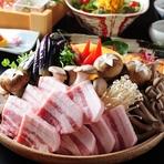 イベリコ豚黄金の出汁しゃぶがメインのコースです。お料理コース3500円(税抜)。