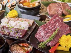 旬野菜を使ったおつまみをはじめ、特選ロースや上ミノなど全13品で構成されたコース。初めての方にも◎