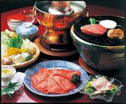 前菜二種・ハムサラダ・あみ焼半人前+しゃぶしゃぶ1人前・食事・水物