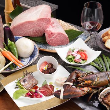 ●瑠璃・ステーキと海鮮のコース
