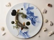 岐阜県産アユのブータン・ノワールと肝のフラン タラとディルのソースを添えて