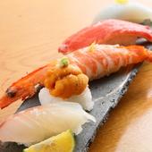 ヨーロッパ産の「特別な塩」がネタの旨味を引き出し、米の甘さを際立たせる『にぎり寿司』