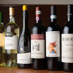 ワインはすべてイタリア産。料理とのマリアージュを愉しむ