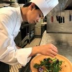 神戸西区の農家さんからその時獲れた旬の野菜を仕入れています。来るたびに違うお野菜を召し上がっていただけると思います。