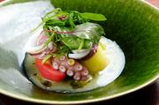 新鮮な魚介と赤肉メロンを合わせた夏のサラダです。歯ごたえのある活ダコや剣先イカなど、それぞれの素材の味や食感がしっかりと感じられて美味。ニンニクの効いた風味とビネガーの酸味が口の中に広がります。