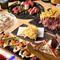 特選肉刺し5種盛りが入った贅沢な料理内容にステーキフリット、2時間飲み放題もついたコース。