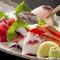 新鮮な海の幸、魚貝のお刺身は絶品