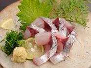 瀬戸内海で一本釣りされた鯵をお刺身で『鯵刺身』
