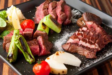 ◆和牛A5タン、ランプステーキと季節野菜の盛り合わせ