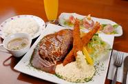 欲張りなあなたに!『びっくりバーク&大エビセット』前菜・スープ・サラダ・ライス付