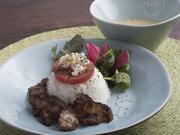 ワサビ風味のアボカドペーストと生ハムが絶妙のおいしさ。ホイップ、季節のフルーツ達とご一緒に。