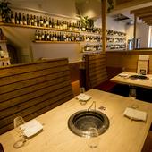洗練された和みの空間で、大切な人とお肉やお酒を堪能