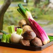 加賀野菜をはじめ地元の野菜を厳選。自分で山菜を摘むことも